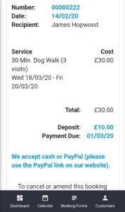 Pet Sitter Club Invoice